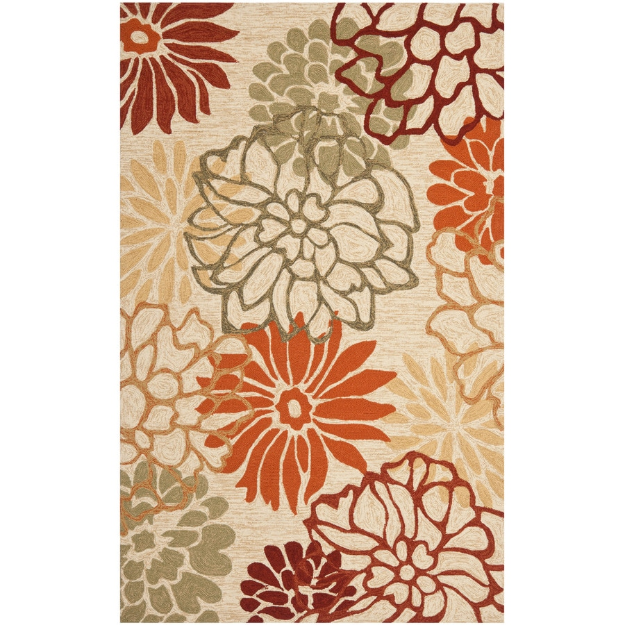 Safavieh Four Seasons Rectangular Cream Floral Indoor/Outdoor Woven Area Rug (Common: 8-ft x 10-ft; Actual: 8-ft x 10-ft)