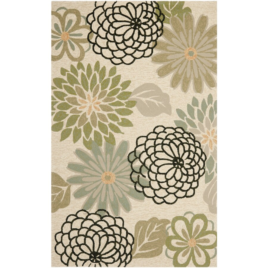 Safavieh Four Seasons Rectangular Cream Floral Indoor/Outdoor Woven Area Rug (Common: 8-ft x 10-ft; Actual: 8-ft x 10-ft)