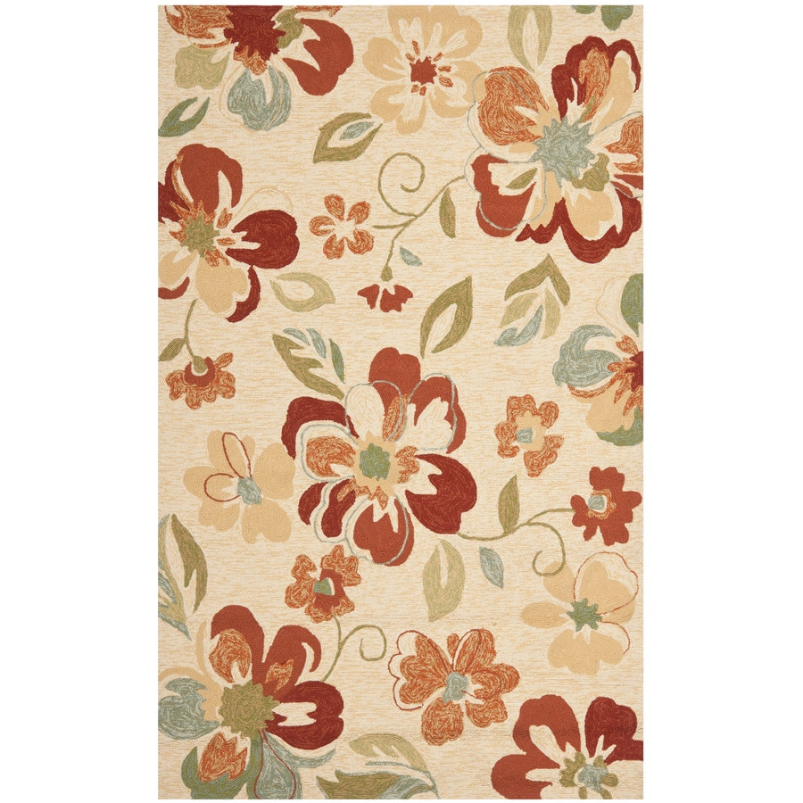 Safavieh Four Seasons Rectangular Cream Floral Indoor/Outdoor Woven Area Rug (Common: 4-ft x 6-ft; Actual: 3.5-ft x 5.5-ft)