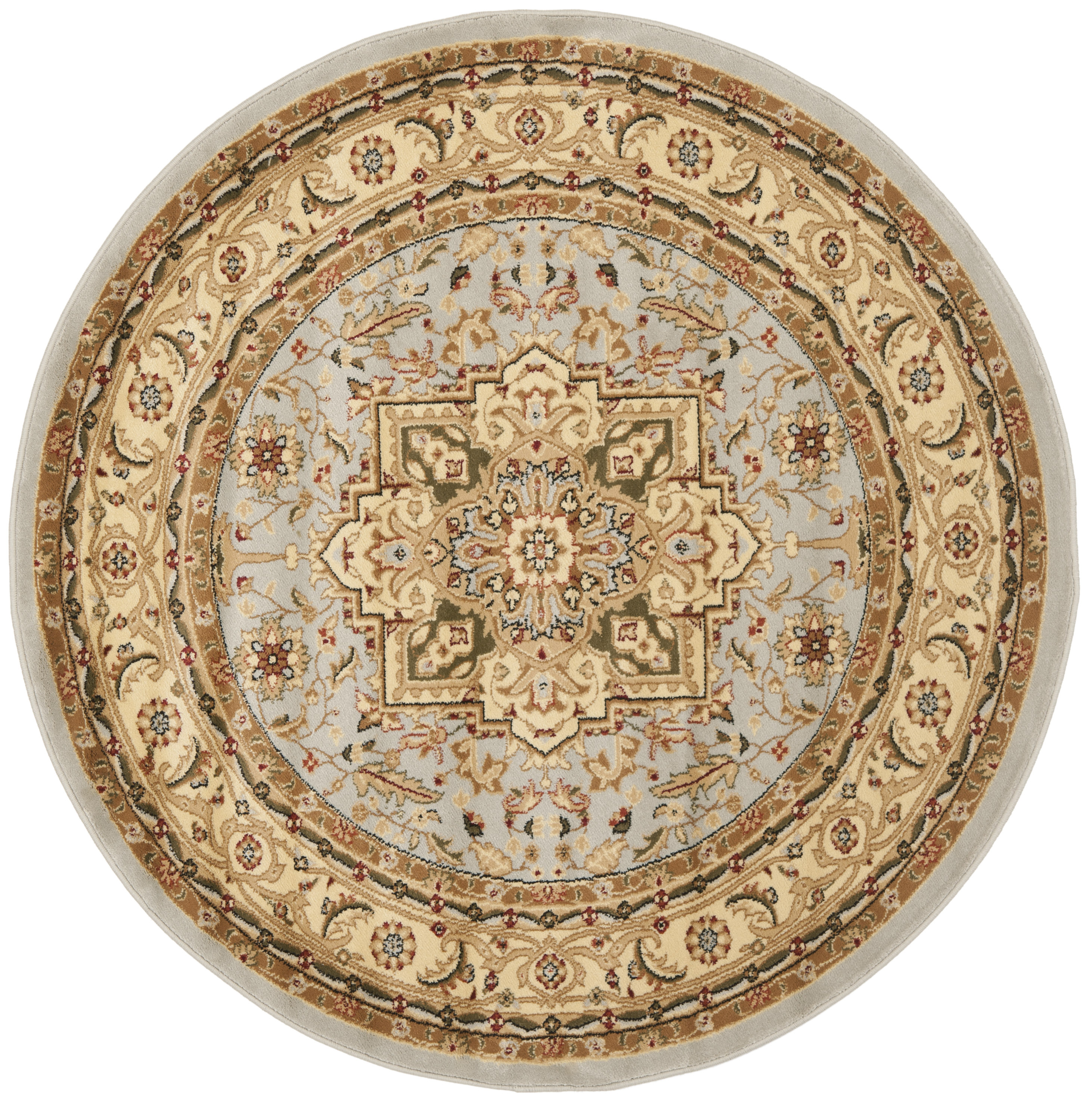 Safavieh Lyndhurst Heriz Gray/Beige Round Indoor Machine-made Oriental Area Rug (Common: 5 x 5; Actual: 5.25-ft W x 5.25-ft L x 5.25-ft Dia)