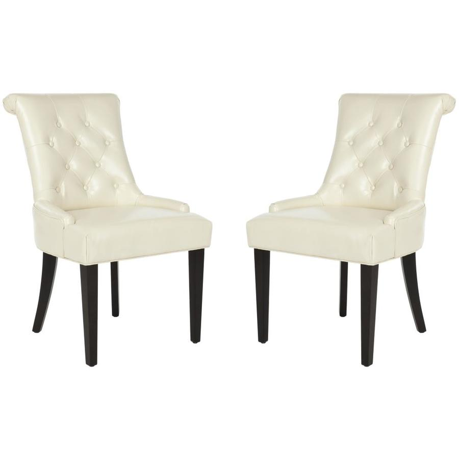 Safavieh Set of 2 Mercer Cream-Leather Side Chairs