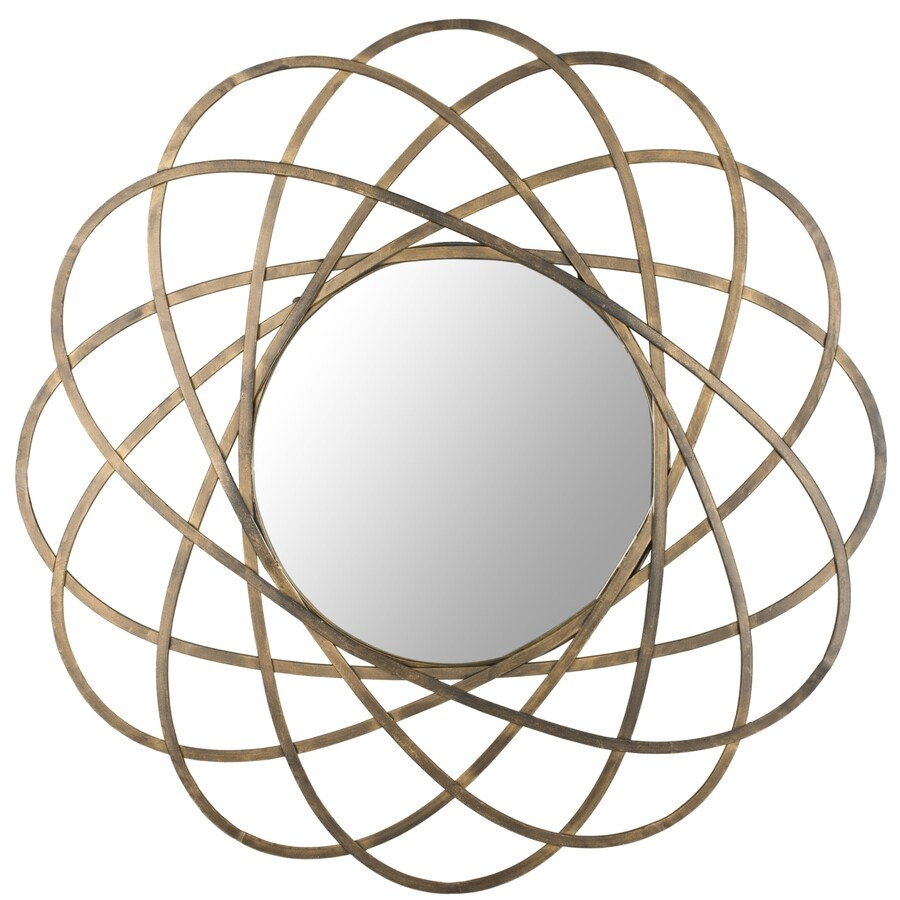 Safavieh 32-in x 32-in Gold Polished Round Framed Contemporary Wall Mirror