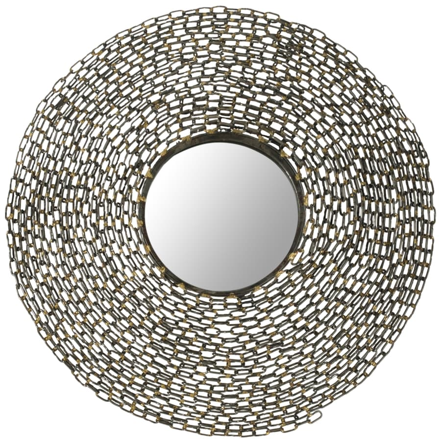 Safavieh 24-in x 24-in Natural Polished Round Framed Contemporary Wall Mirror