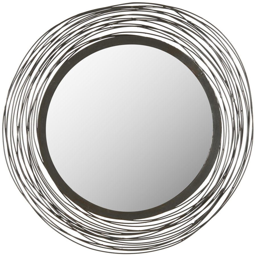 Safavieh Wired 21-in x 21-in Natural Polished Round Framed Contemporary Wall Mirror