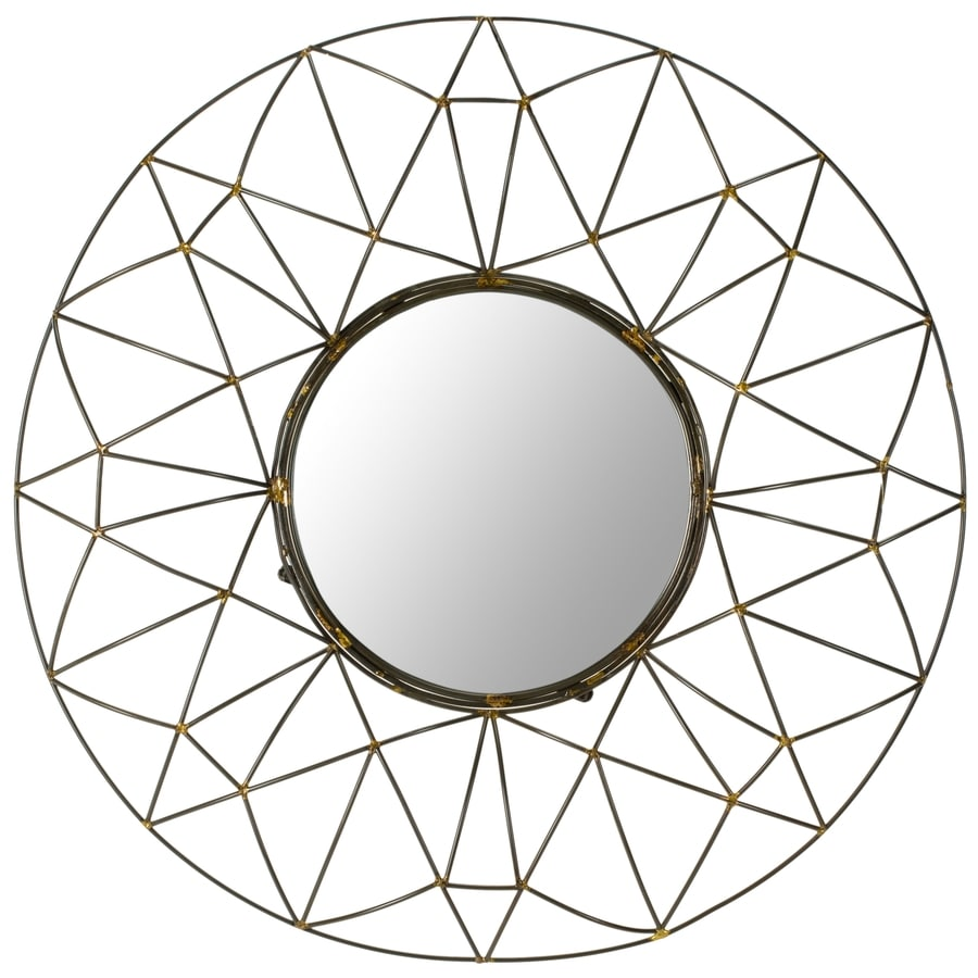 Safavieh 32-in x 32-in Natural Polished Round Framed Contemporary Wall Mirror