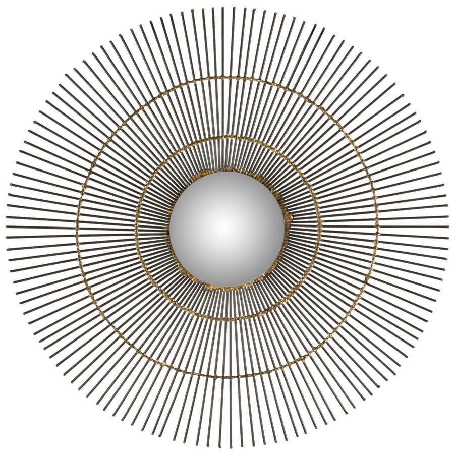 Safavieh 21-in x 30-in Natural Polished Round Framed Sunburst Wall Mirror