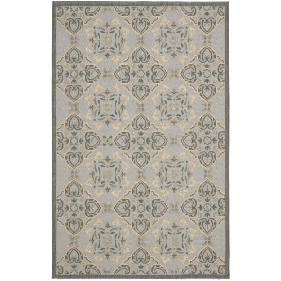 Safavieh Courtyard Light Gray/Anthracite Rectangular Indoor/Outdoor Machine-Made Coastal Area Rug (Common: 6 x 9; Actual: 6.58-ft W x 9.5-ft L x 0-ft Dia)