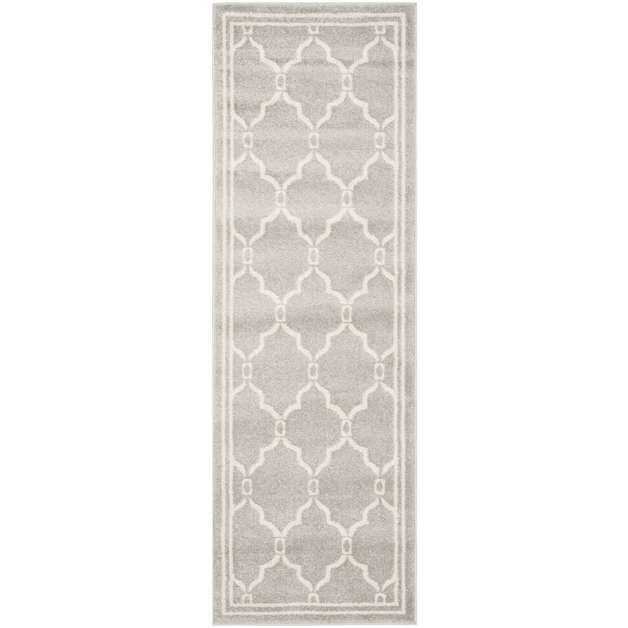 Safavieh Amherst Marion Gray/Ivory Rectangular Indoor/Outdoor Machine-Made Moroccan Runner (Common: 2 x 14; Actual: 2.25-ft W x 15-ft L)
