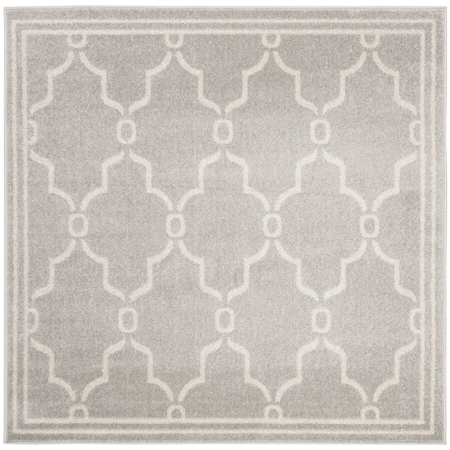 Safavieh Amherst Marion Gray/Ivory Square Indoor/Outdoor Machine-Made Moroccan Area Rug (Common: 5 x 5; Actual: 5-ft W x 5-ft L)