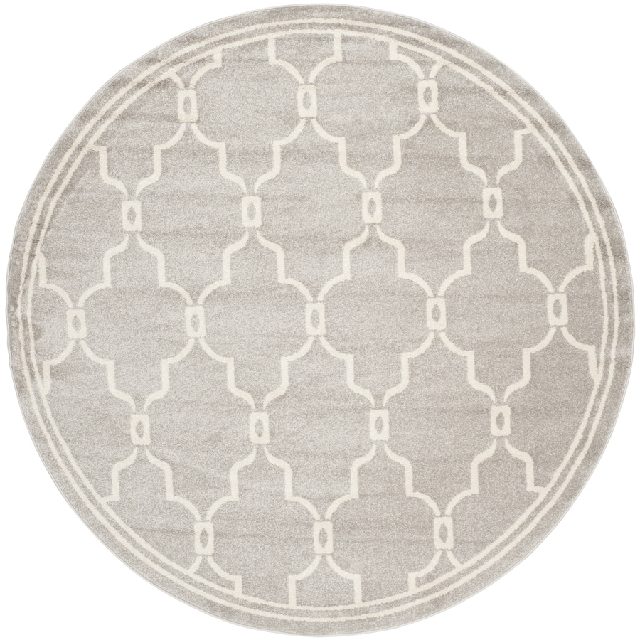Safavieh Amherst Gray/Ivory Round Indoor/Outdoor Machine-Made Moroccan Area Rug (Common: 9 x 9; Actual: 9-ft W x 9-ft L x 9-ft Dia)