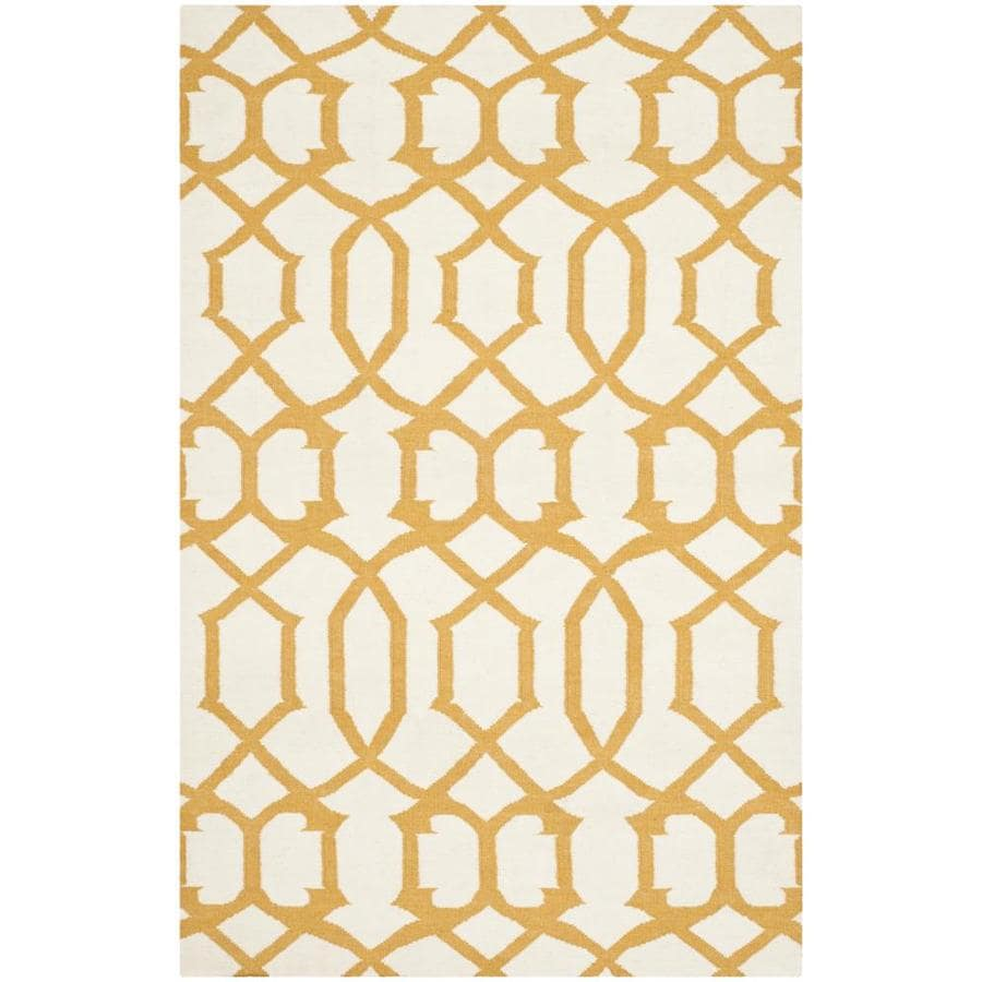 Safavieh Dhurries Ivory/Yellow Rectangular Indoor Handcrafted Southwestern Area Rug (Common: 4 x 6; Actual: 4-ft W x 6-ft L)