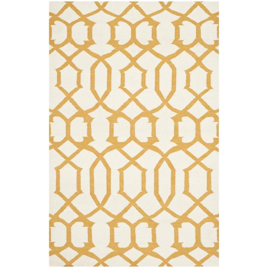 Safavieh Dhurries Ivory and Yellow Rectangular Indoor Woven Area Rug (Common: 5 x 8; Actual: 60-in W x 96-in L x 0.33-ft Dia)