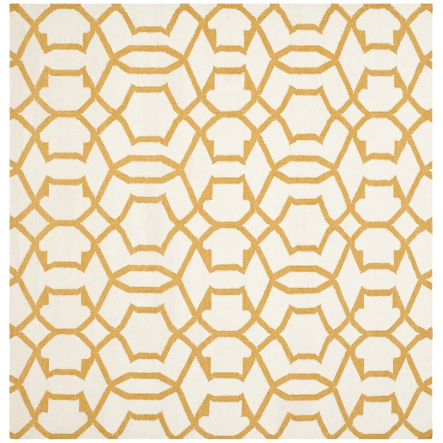 Safavieh Dhurries Ivory and Yellow Square Indoor Woven Area Rug (Common: 6 x 6; Actual: 72-in W x 72-in L x 0.42-ft Dia)