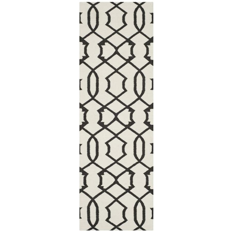 Safavieh Dhurries Ivory and Charcoal Rectangular Indoor Woven Runner (Common: 2 x 8; Actual: 30-in W x 96-in L x 0.33-ft Dia)