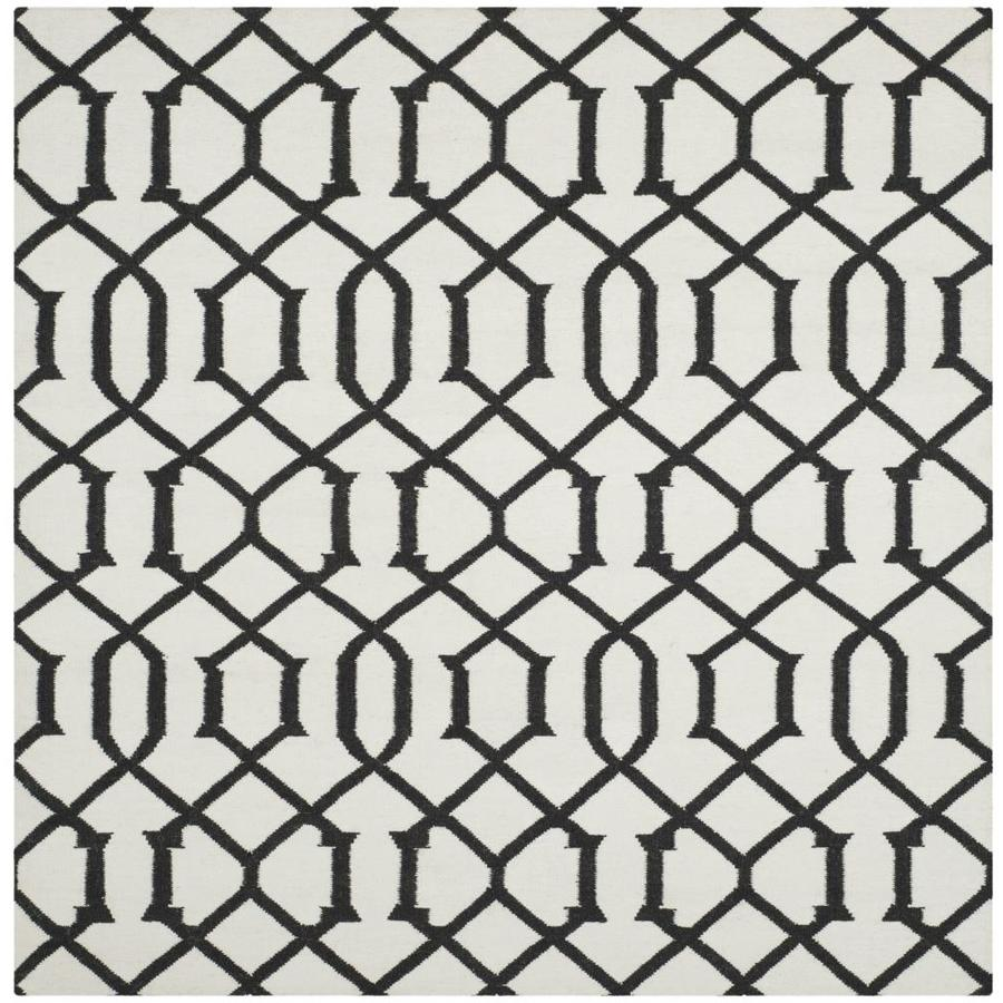Safavieh Dhurries Ivory/Charcoal Square Indoor Handcrafted Southwestern Area Rug (Common: 6 x 6; Actual: 6-ft W x 6-ft L)