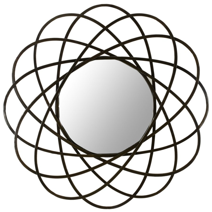 Safavieh 32-in x 32-in Amber Polished Round Framed Contemporary Wall Mirror