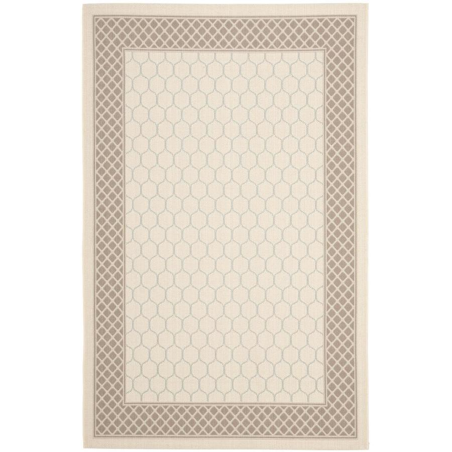 Safavieh Courtyard Beige/Dark Beige Rectangular Indoor/Outdoor Machine-Made Coastal Area Rug (Common: 4 x 6; Actual: 4-ft W x 5.5833-ft L)