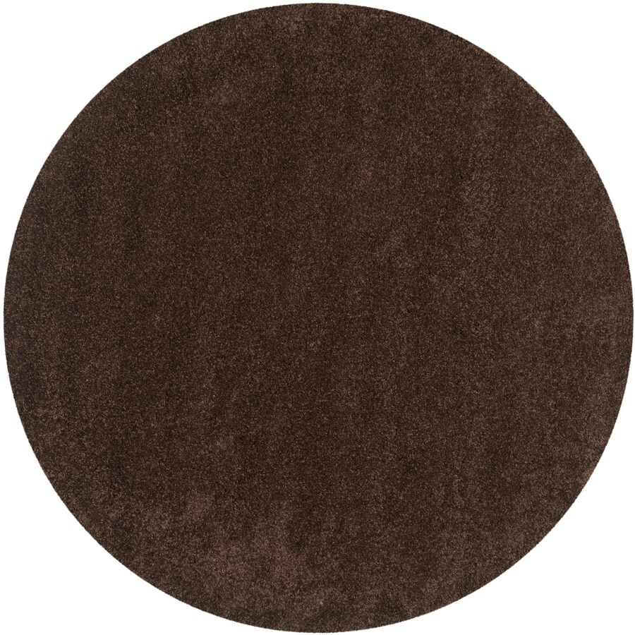 Safavieh California Shag Brown Round Indoor Machine-made Area Rug (Common: 4 x 4; Actual: 4-ft W x 4-ft L x 4-ft Dia)