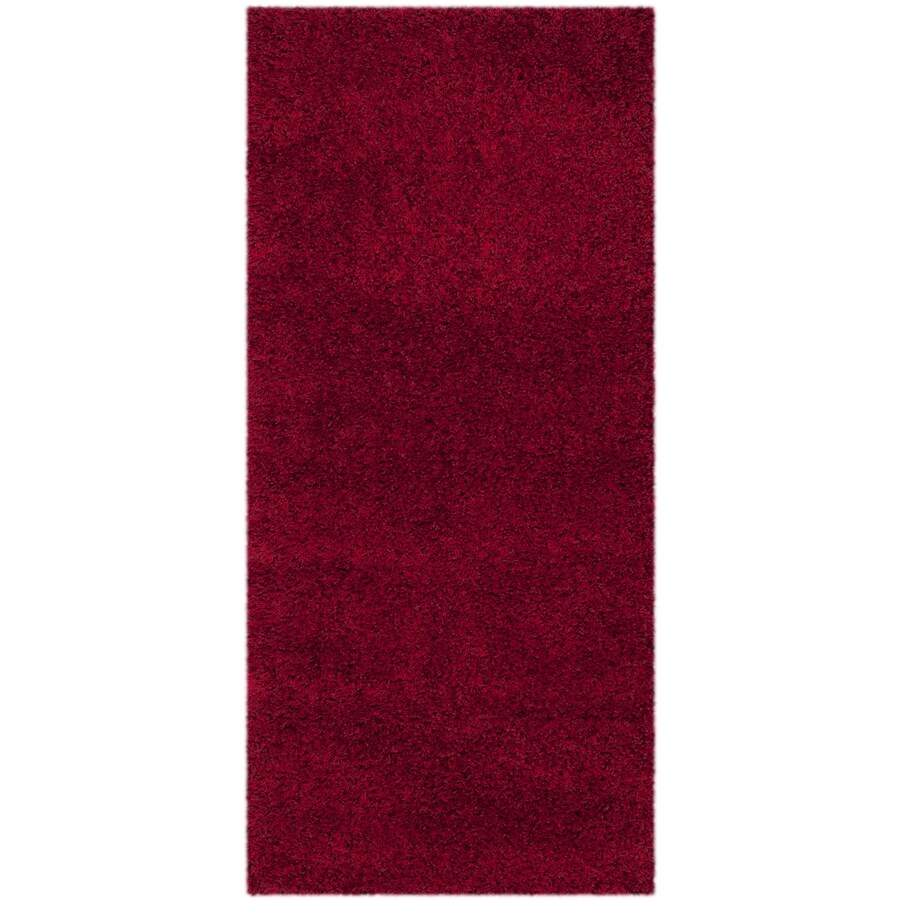 Safavieh California Shag Red Rectangular Indoor Machine-Made Runner (Common: 2 x 9; Actual: W x L x 0-ft Dia)