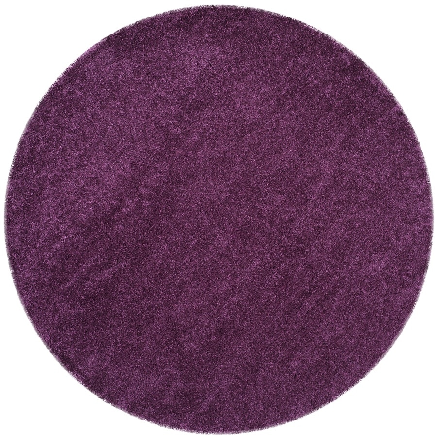 Safavieh California Shag Purple Round Indoor Machine-Made Area Rug (Common: 4 x 4; Actual: W x L x 4-ft Dia)