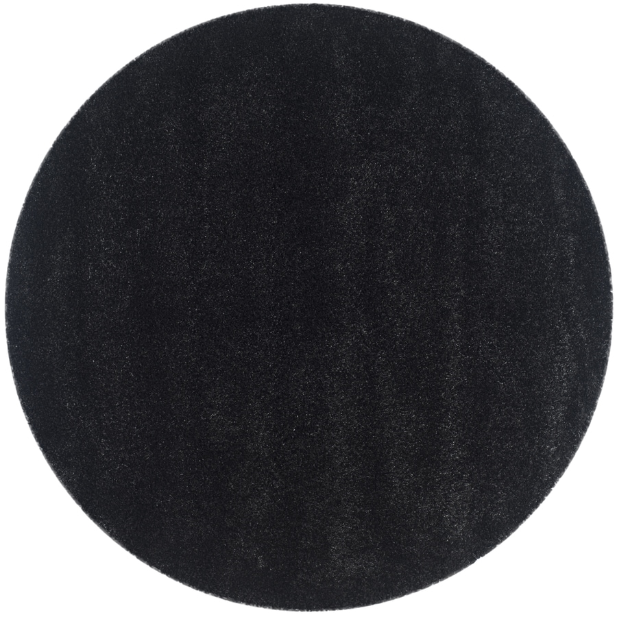 safavieh california shag black round indoor machine made area rug common 4 x california shag black 4 ft