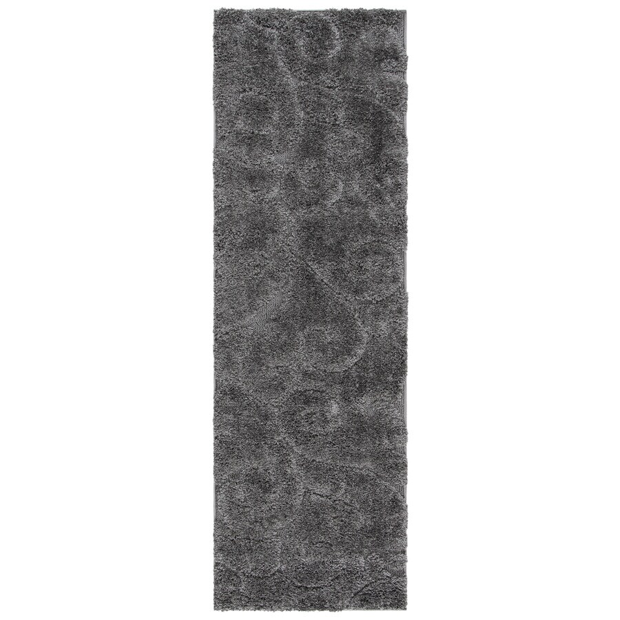 Safavieh Florida Scroll Shag Gray Indoor Tropical Runner (Common: 2 x 9; Actual: 2.25-ft W x 9-ft L)