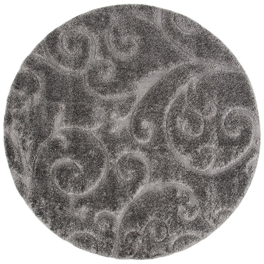 Safavieh Florida Scroll Shag Gray Round Indoor Tropical Area Rug (Common: 4 x 4; Actual: 4-ft W x 4-ft L x 4-ft dia)