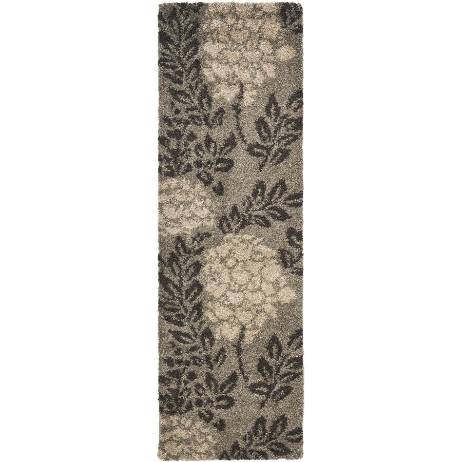 Safavieh Azalea Shag Smoke/Dark Brown Rectangular Indoor Machine-made Tropical Runner (Common: 2 x 9; Actual: 2.25-ft W x 9-ft L)