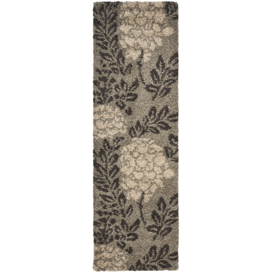 Safavieh Florida Shag Smoke/Dark Brown Rectangular Indoor Machine-Made Tropical Runner (Common: 2 x 9; Actual: 2.25-ft W x 9-ft L x 0-ft Dia)