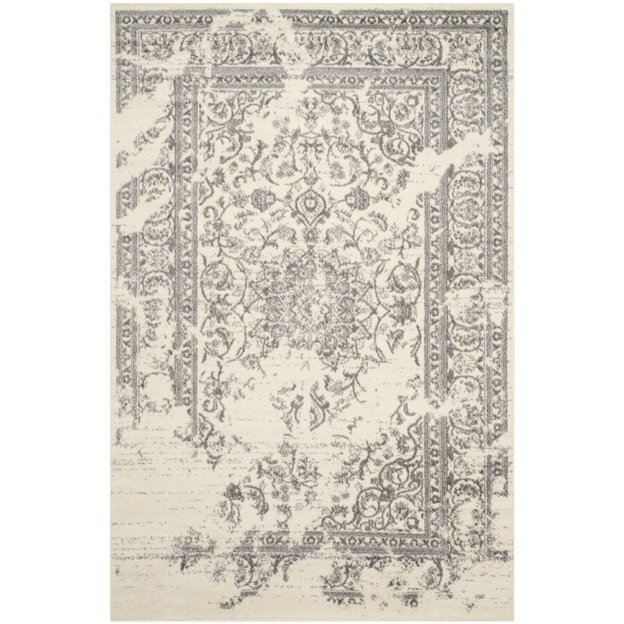 Safavieh Adirondack Plaza Ivory/Silver Rectangular Indoor Machine-Made Lodge Area Rug (Common: 4 x 6; Actual: 4-ft W x 6-ft L)