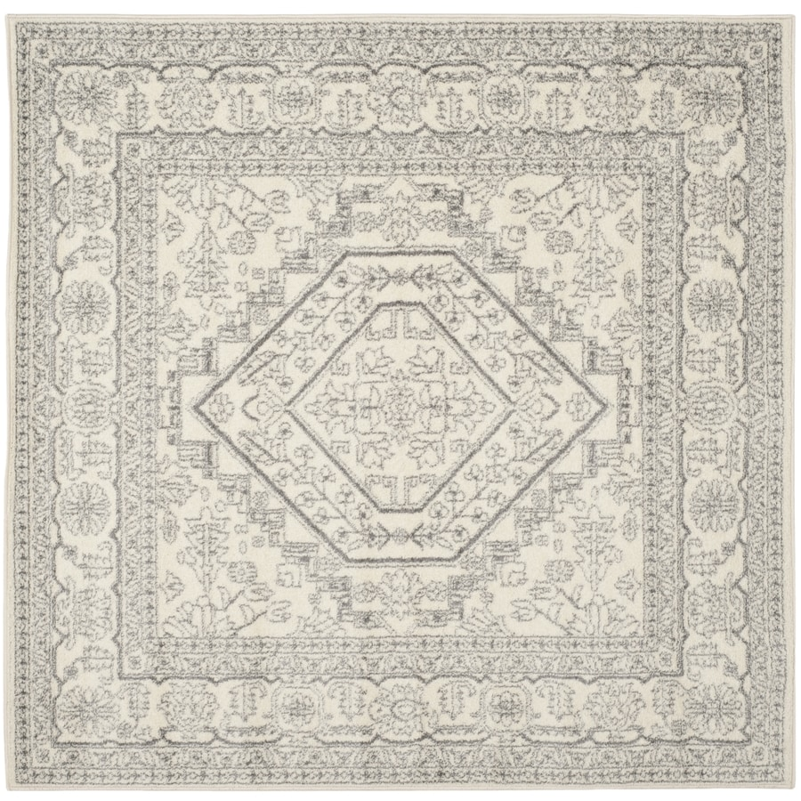 Safavieh Adirondack Ivory/Silver Square Indoor Machine-Made Lodge Area Rug (Common: 6 x 6; Actual: 6-ft W x 6-ft L)