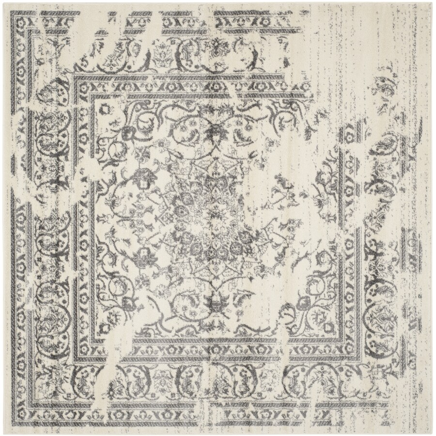 Safavieh Adirondack Ivory/Silver Square Indoor Machine-Made Lodge Area Rug (Common: 7.10 x 7.10; Actual: 8-ft W x 8-ft L)