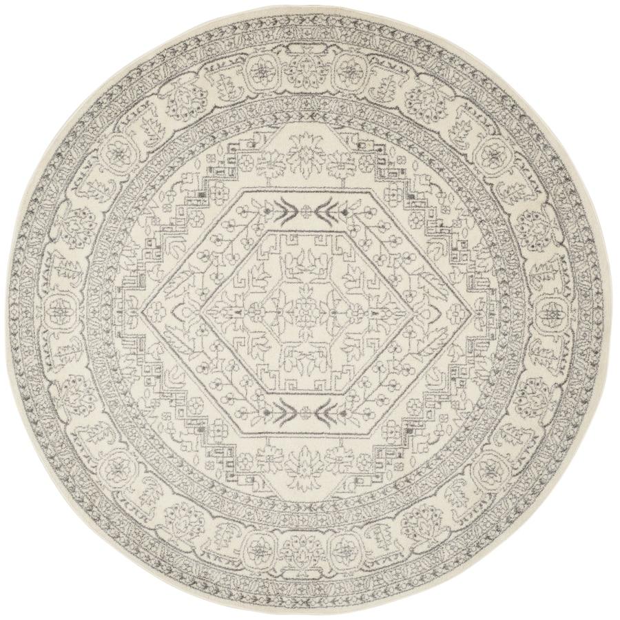 Safavieh Adirondack Herati Ivory/Silver Round Indoor Lodge Area Rug (Common: 8 x 8; Actual: 8-ft W x 8-ft L x 8-ft dia)