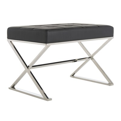 Awesome Safavieh Micha Modern Black Faux Leather Ottoman At Lowes Com Bralicious Painted Fabric Chair Ideas Braliciousco