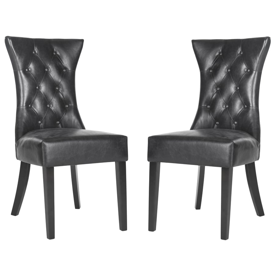 Safavieh Set of 2 Mercer Antique Black Side Chairs