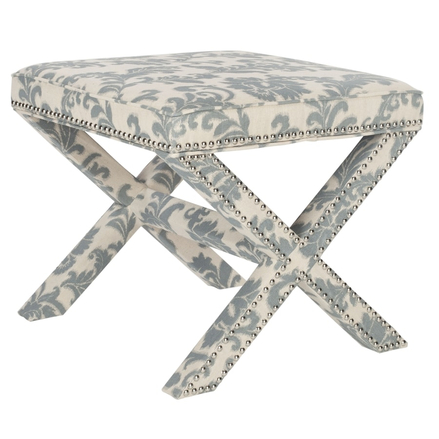 Safavieh Mercer Slate and Beige Print Rectangle Ottoman