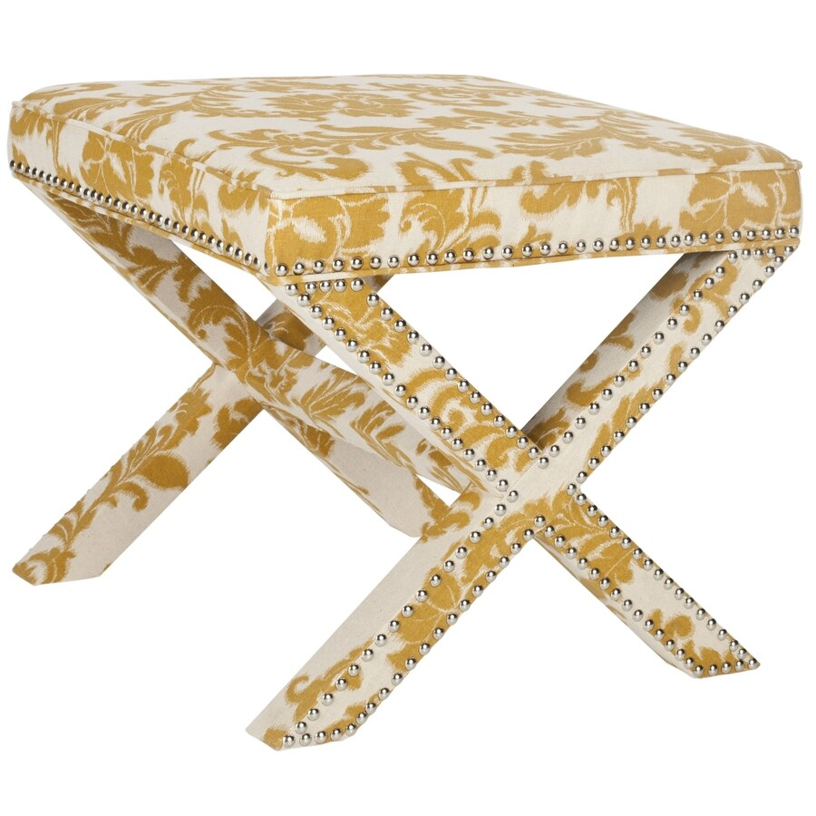 Safavieh Mercer Maize and Beige Print Rectangle Ottoman
