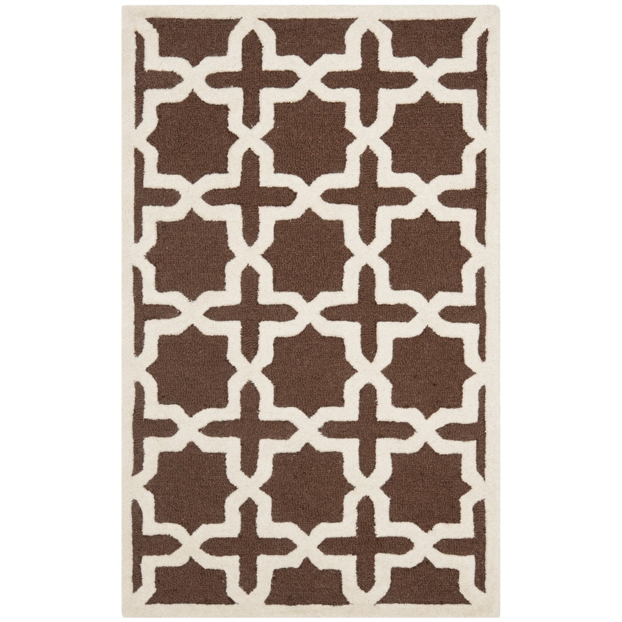 Safavieh Cambridge Rectangular Brown Geometric Tufted Wool Accent Rug (Common: 2-ft x 4-ft; Actual: 30-in x 48-in)