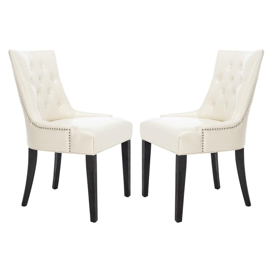Safavieh Set of 2 Mercer Cream/Leather Side Chairs