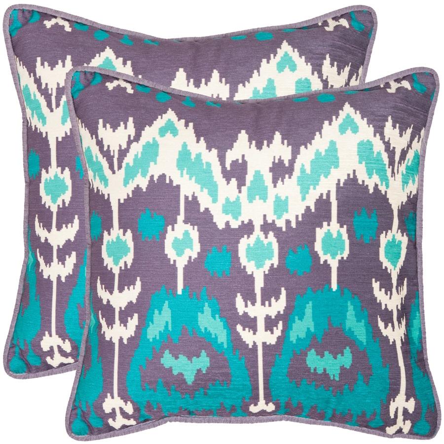 Safavieh Manhattan 2-Piece 22-in W x 22-in L Aqua/Cream Square Indoor Decorative Pillow