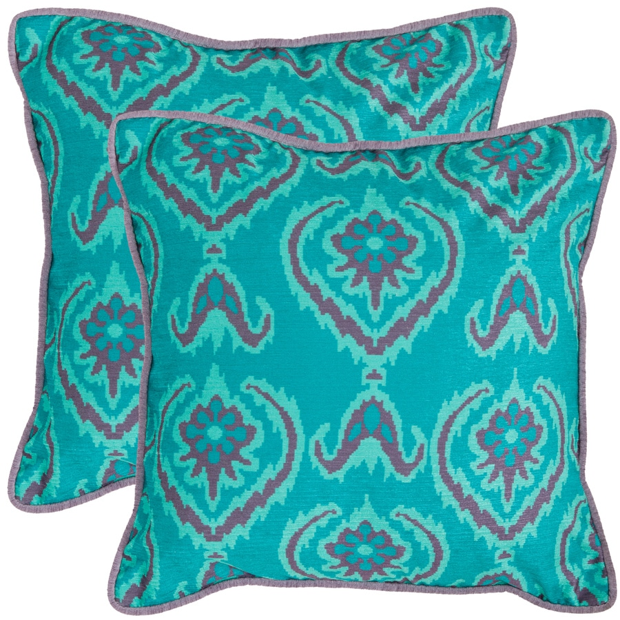 Safavieh Alpine 2-Piece 20-in W x 20-in L Blue Square Indoor Decorative Pillow