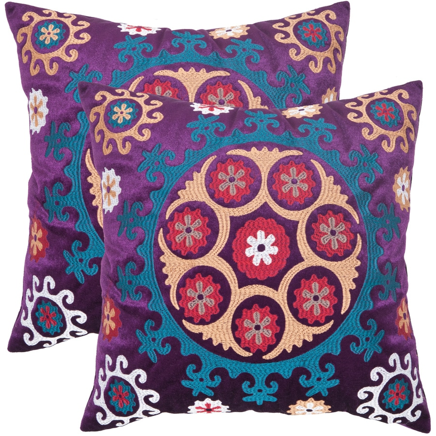 Safavieh Vanessa 2-Piece 20-in W x 20-in L Gold/Purple Square Indoor Decorative Pillow