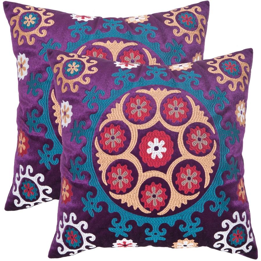 Safavieh Vanessa 2-Piece 22-in W x 22-in L Gold/Purple Square Indoor Decorative Pillow