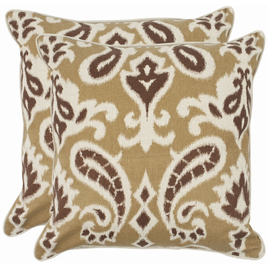 Safavieh Dylan 2-Piece 22-in W x 22-in L Brown Square Indoor Decorative Pillow