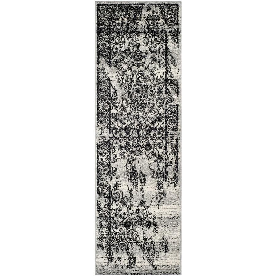 Safavieh Adirondack Silver/Black Rectangular Indoor Machine-Made Lodge Runner (Common: 2 x 12; Actual: 2.5-ft W x 12-ft L)