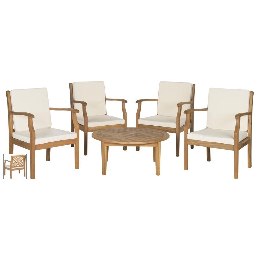 shop safavieh patio 5 acacia patio conversation set