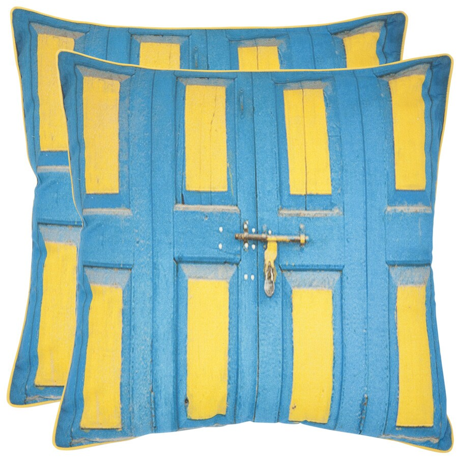 Safavieh Nador 2-Piece 18-in W x 18-in L Aqua/Yellow Square Indoor Decorative Pillow