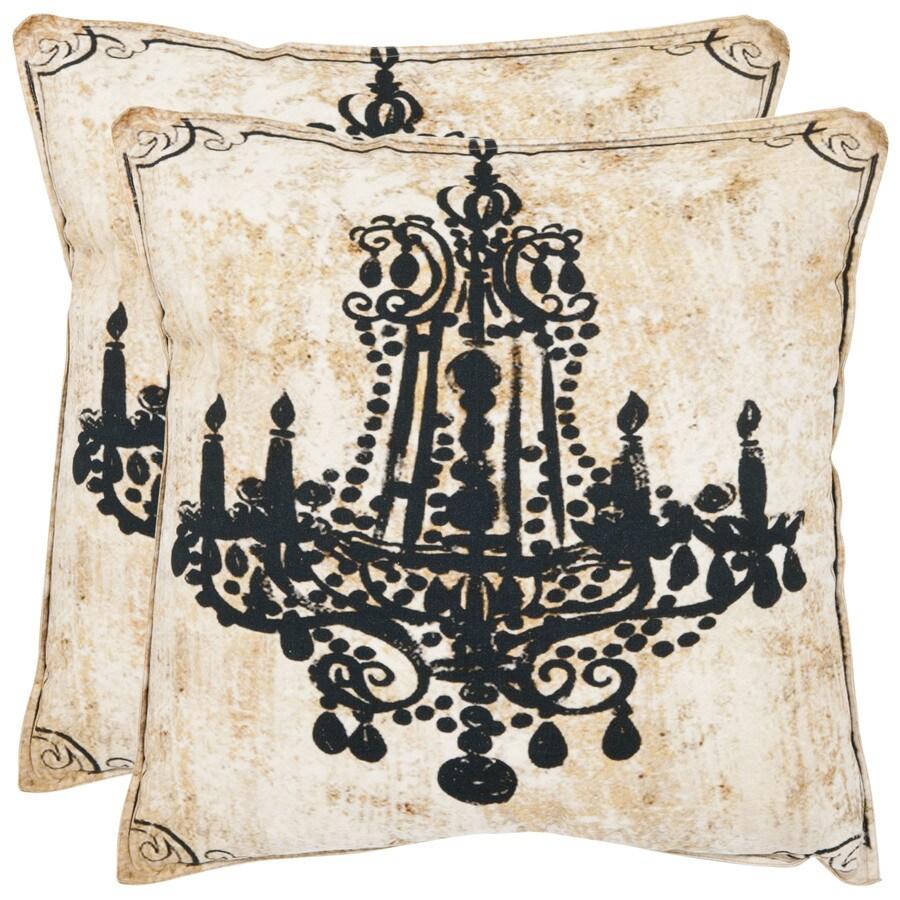 Safavieh Velleron 2-Piece 18-in W x 18-in L Beige Indoor Decorative Pillow