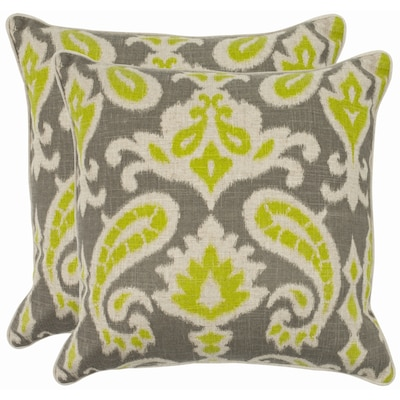 Safavieh Dylan 2 Piece 22 In X 22 In Lime 30 Linen 70 Cotton Square Indoor Decorative Pillow In The Throw Pillows Department At Lowes Com