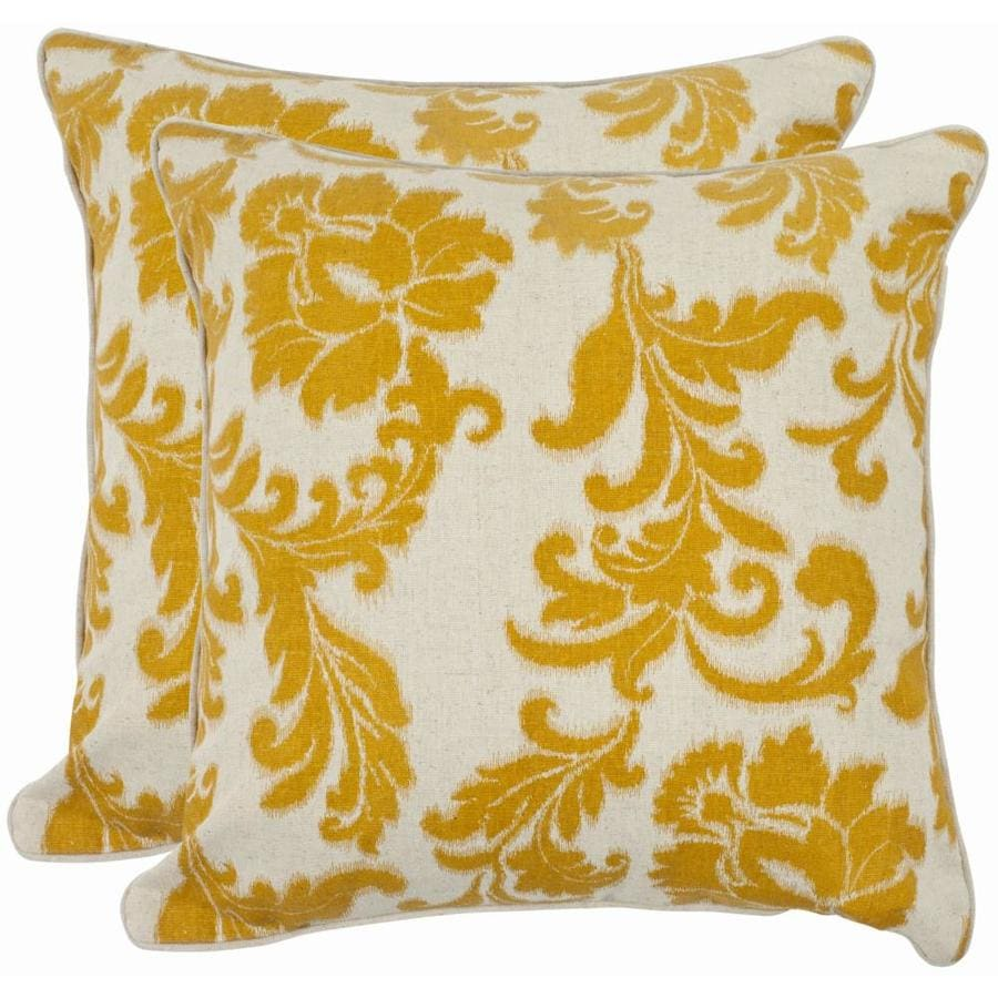 Safavieh Aubrey 2-Piece 18-in W x 18-in L Apricot Square Indoor Decorative Pillow